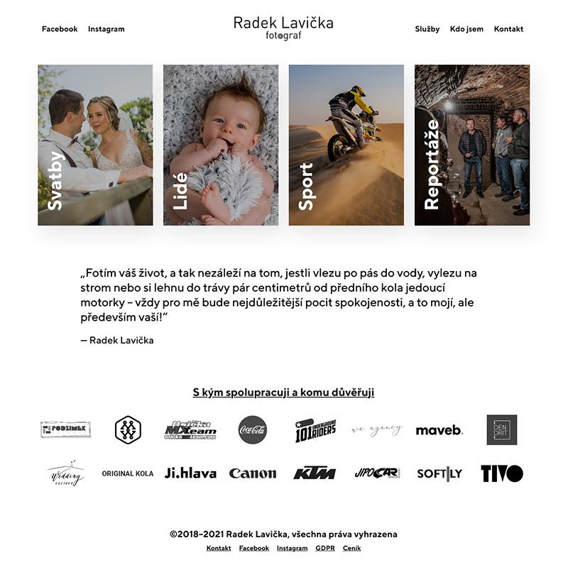 Internetové stránky – Fotograf Radek Lavička – web-náhled