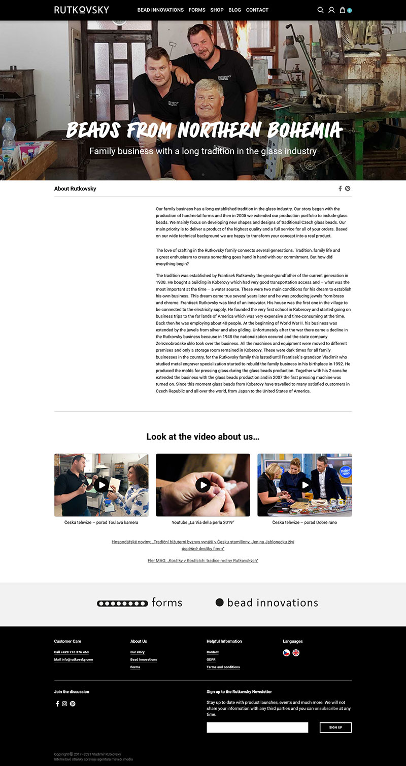 Rutkovsky.com – Internetové stránky, náhled