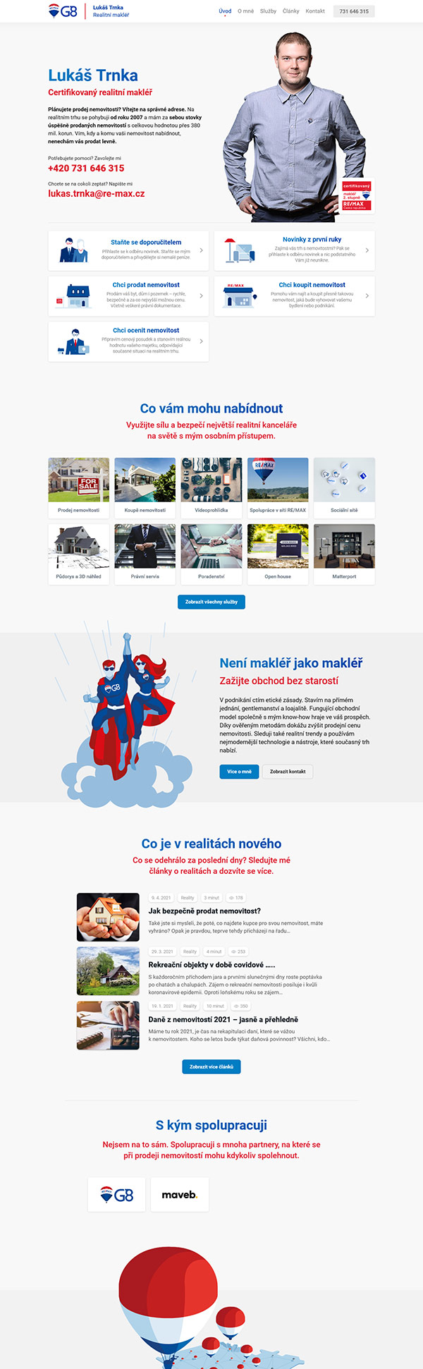 Internetové stránky pro makléře, reference – Lukáš Trnka